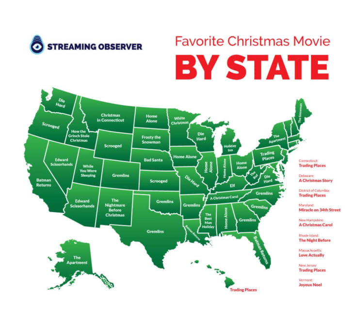 A map of the U.S. with each state's most-searched-for Christmas movie