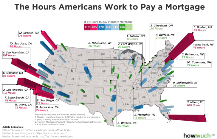 A map of the U.S. highlighting the cities where people have to work the longest to pay their mortgage