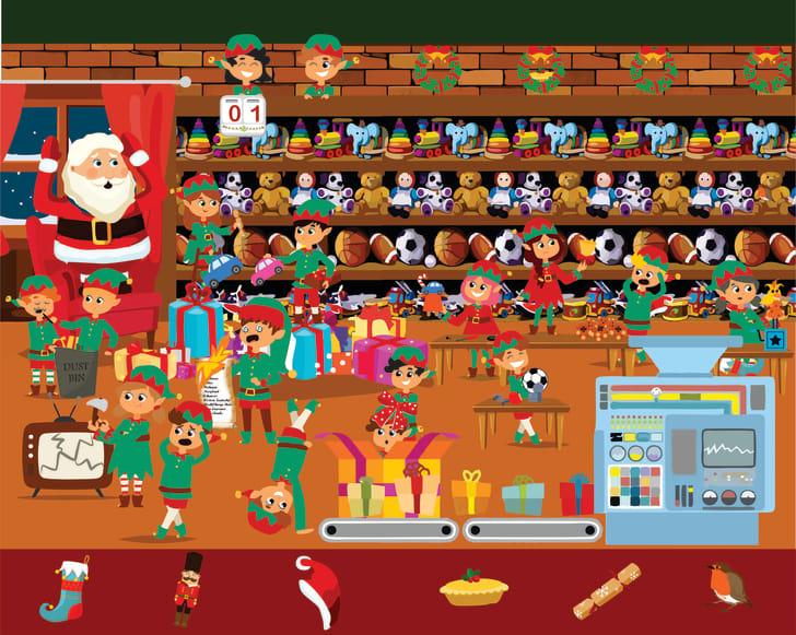 Santa's workshop brain teaser puzzle.