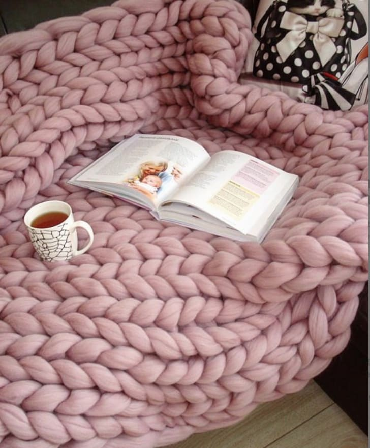 Merino Wool Chunky Blanket from Etsy