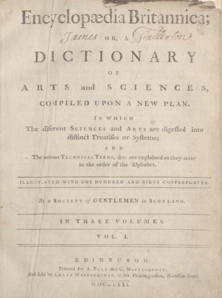 The title page on the first edition of the Encyclopedia Britannica