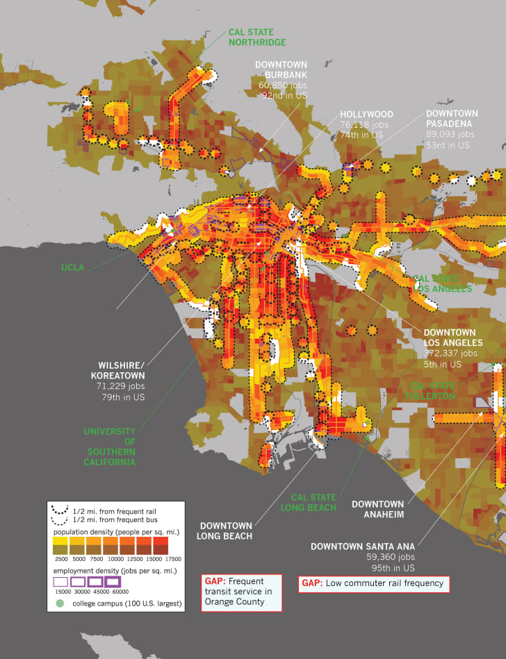 A density map of Los Angeles showing where transit is within 0.5 miles