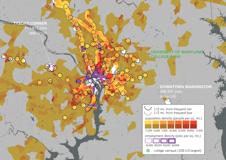 A density map of D.C. showing where transit is within 0.5 miles