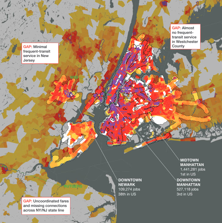 A density map of New York City showing where transit is within 0.5 miles