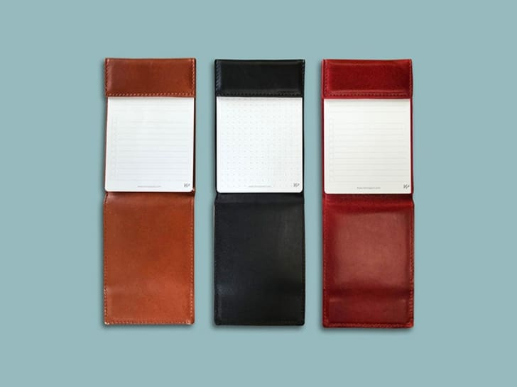 Leather pads for taking notes.