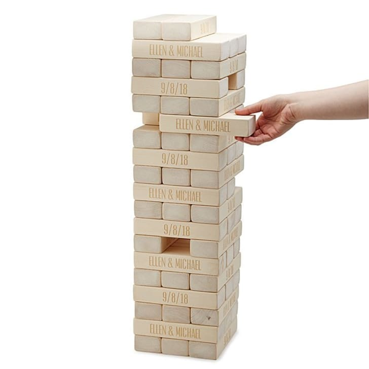 Tumble tower with engraved blocks.