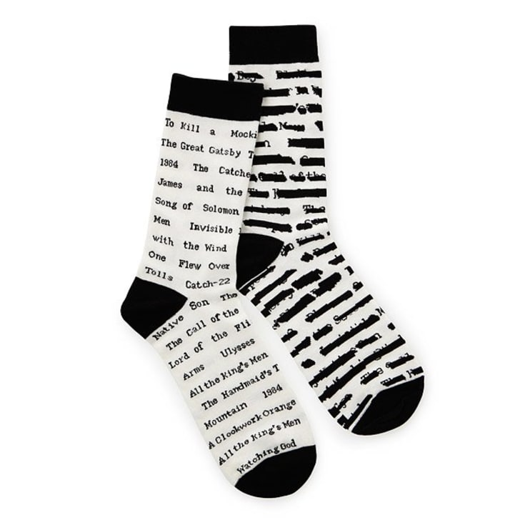 Socks with titles of banned books printed on them.