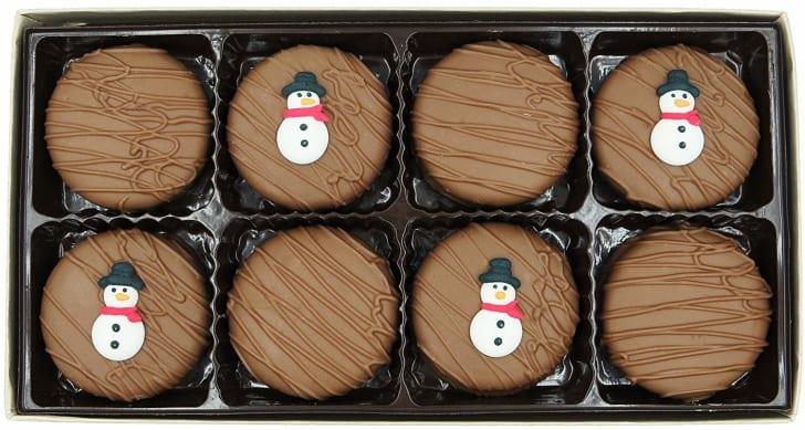 A box of chocolate-covered Oreos