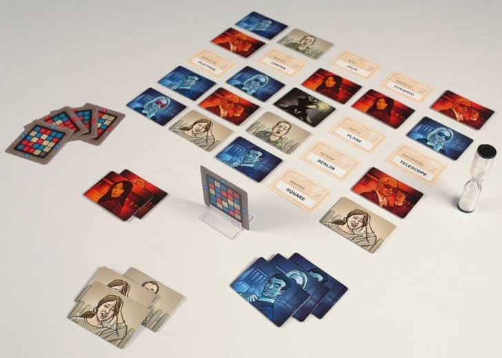 Codenames cards laid out on a table