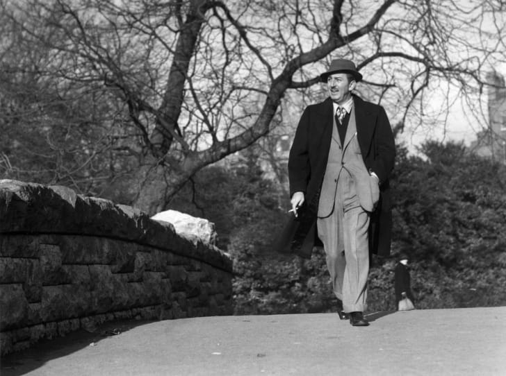 22nd November 1946: American animator and producer Walt (Walter Elias) Disney (1901 - 1966) walking through St Stephens Green, Dublin, in the Republic of Ireland.