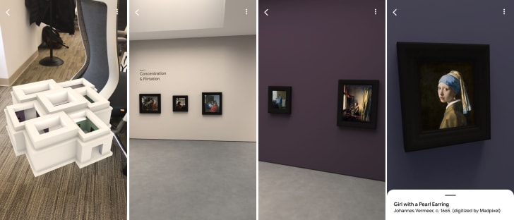 Four screenshots showing a digital art gallery in the 'Meet Vermeer' augmented reality app