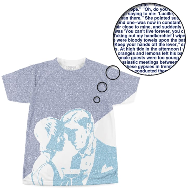 A T-shirt with two Great Gatsby characters on the front