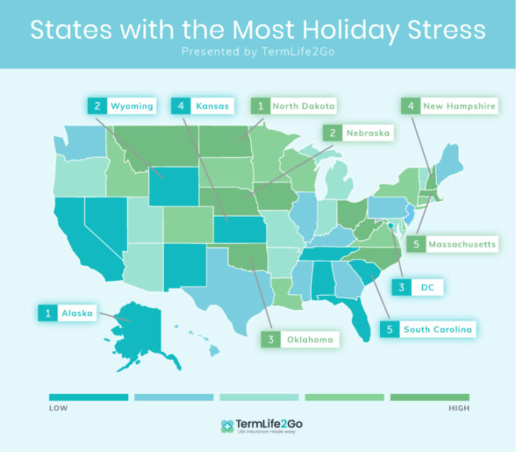 Map of states that are stressed around the holidays.