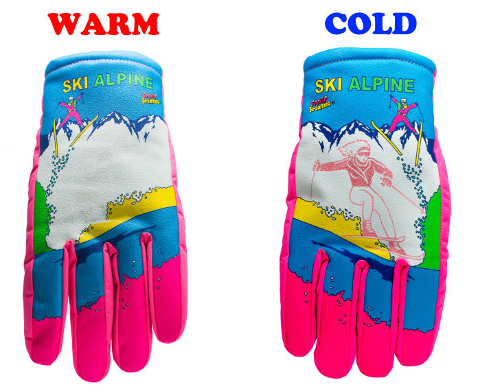 An image of a skier is shown on the cold gloves, compared to the warm gloves with no skier on them
