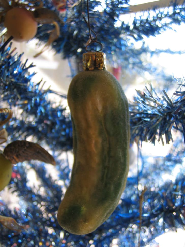 A Christmas pickle hangs from a Christmas tree
