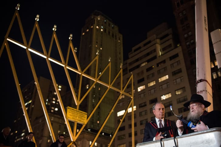 Mayor Michael Bloomberg attends the menorah lighting in New York City in 2013.