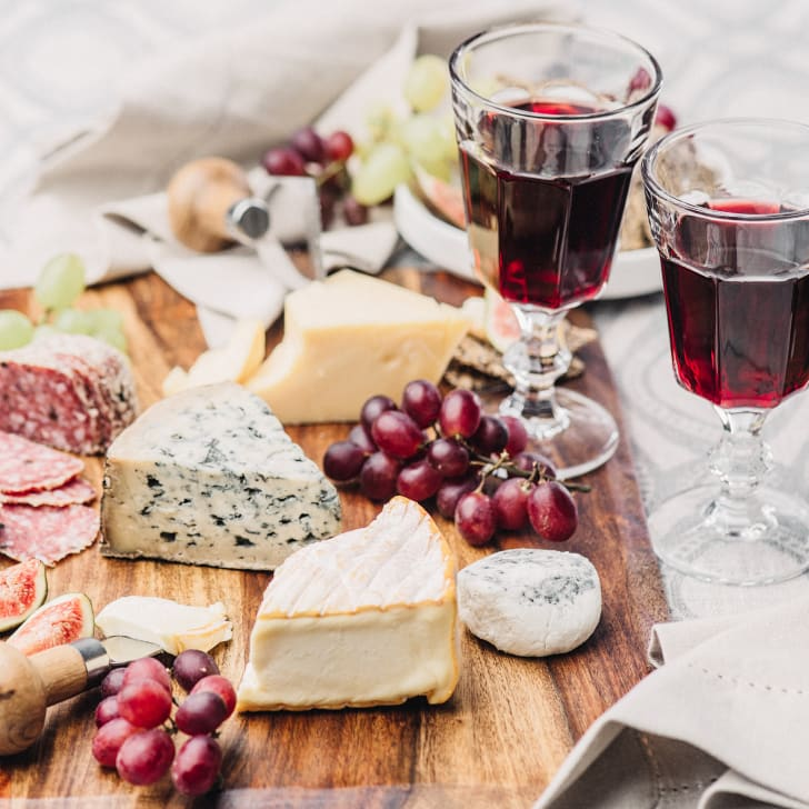 tray of cheese and wine