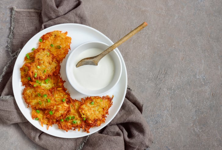 plate of latkes with sour cream