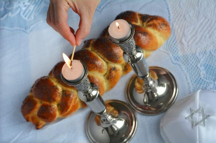 lighting Shabbat candles