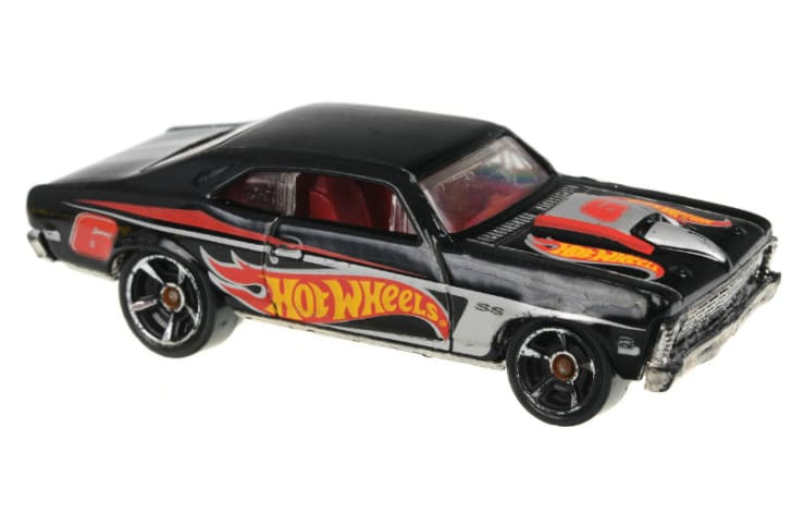A Hot Wheels toy car is pictured