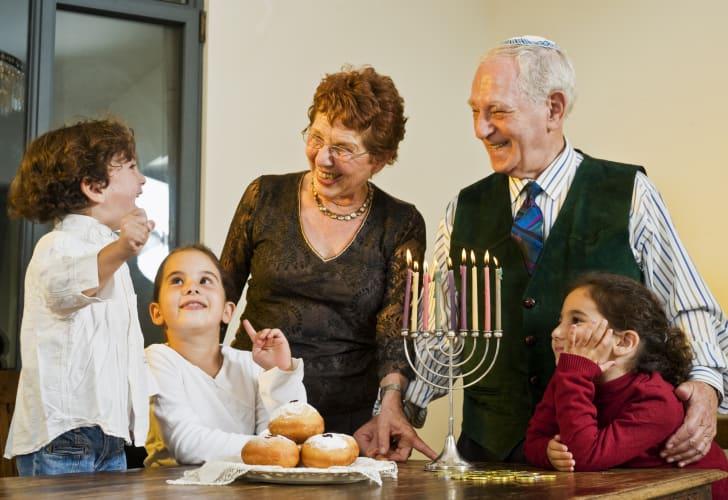 a family at hanukkah