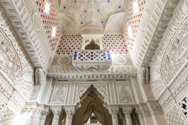 A cavernous ceiling in a castle