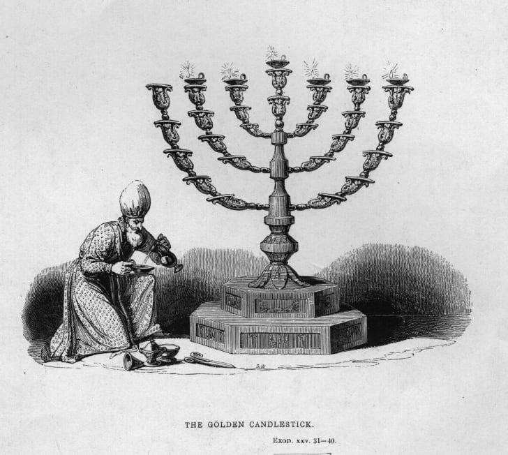 engraving of a menorah