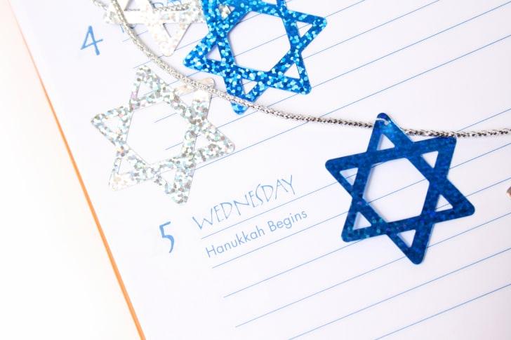 Hanukkah listed in a calendar