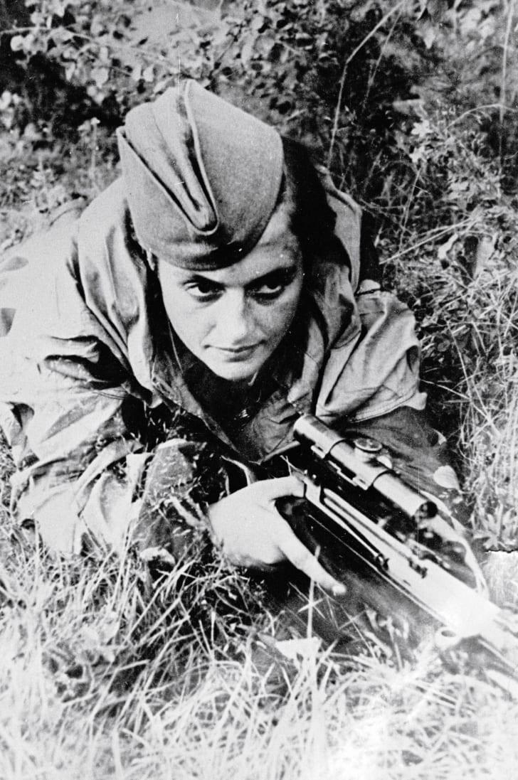 Soviet sniper Lyudmila Pavlichenko in 1942
