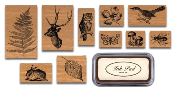 Cavallini flora and fauna rubber stamp set from Amazon