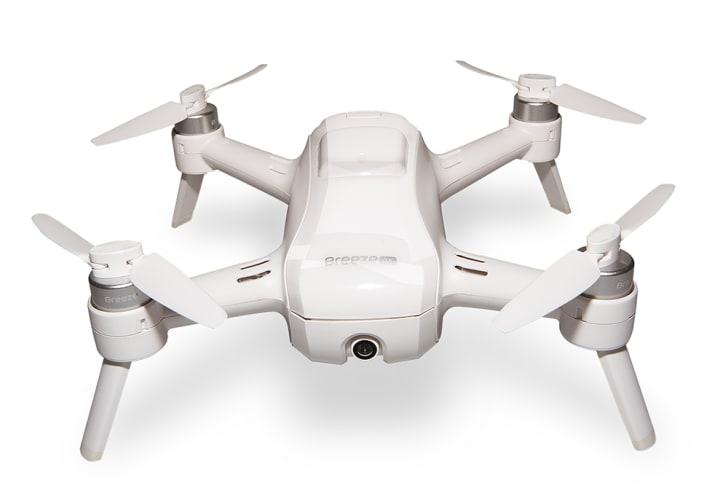 A white camera drone