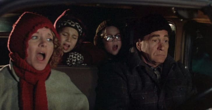 Peter Billingsley, Melinda Dillon, Darren McGavin, and Ian Petrella in A Christmas Story (1983)