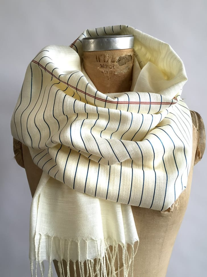 Notebook paper-printed scarf from Cyberoptix