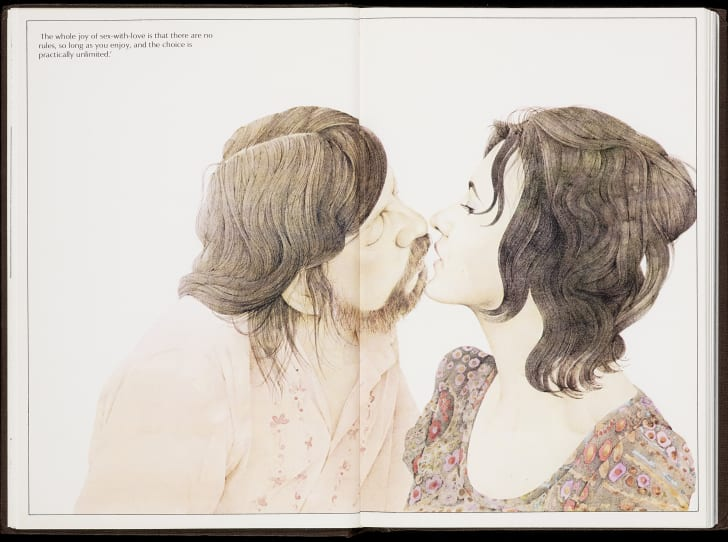 An illustration of two people about to kiss