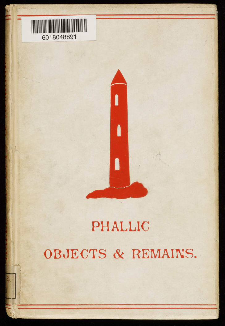 "The title ""Phallic objects and remains"" is written under an illustration of a rocket ship"