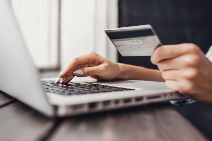 Woman ordering something online