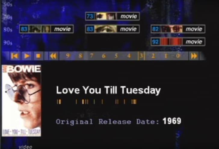 A screen shot from BowieNet, David Bowie's internet portal