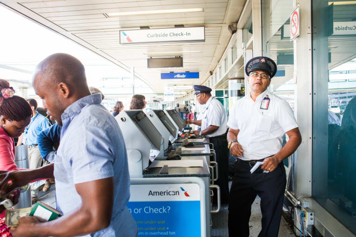 Curbside check-in at an airport