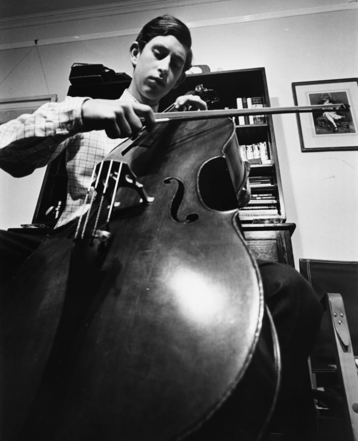 Prince Charles playing a cello, April 1969.