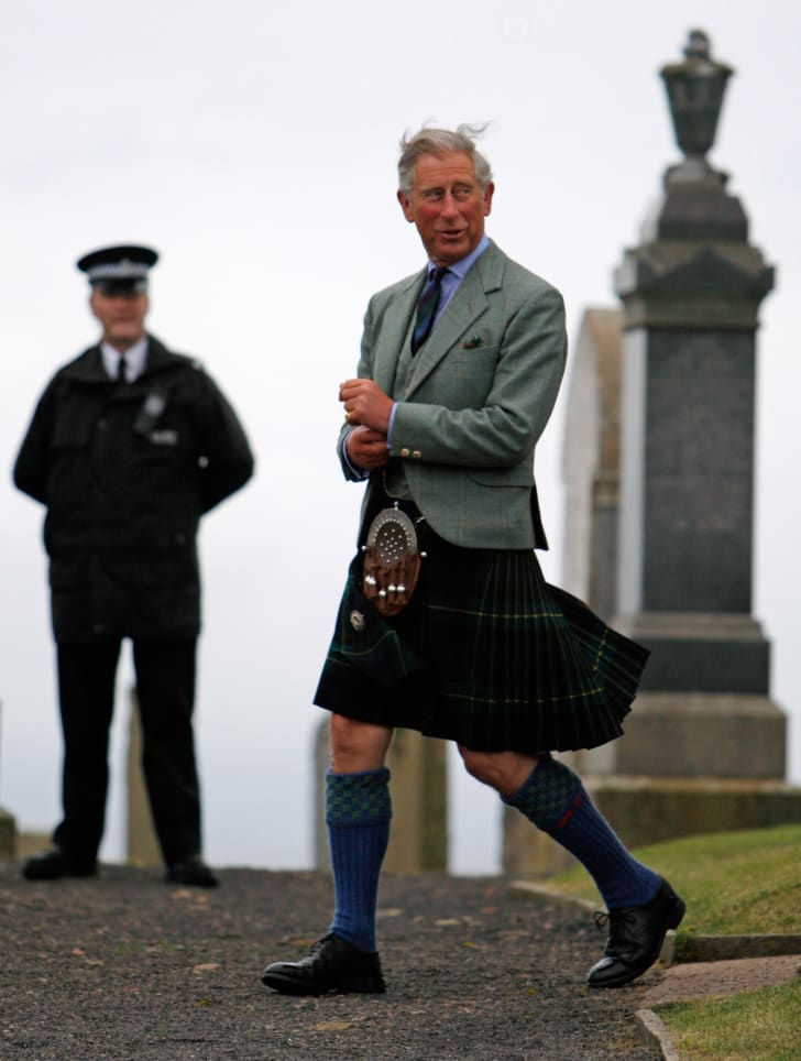 Prince Charles, in his role as the Duke of Rothesay, attends a Sunday church service at Canisbay Church near the Castle of Mey in August 2008 in Canisbay, Scotland.
