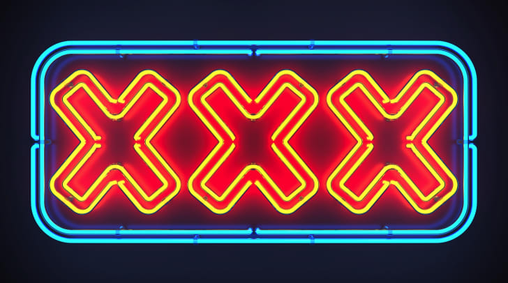 A neon XXX sign