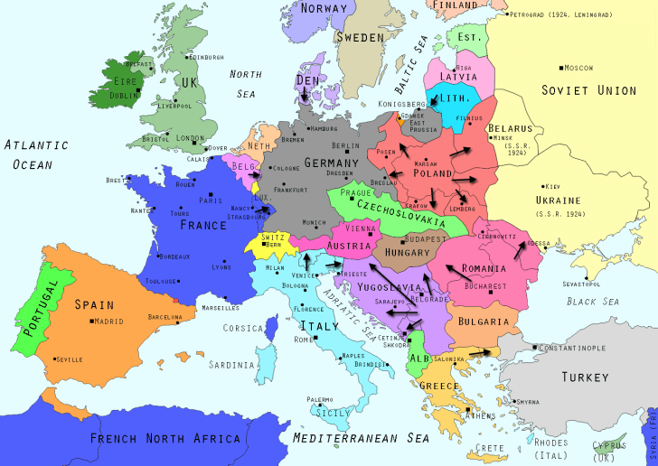 Map of new states in Europe after World War I