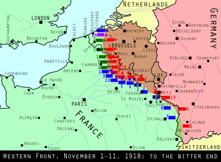 Maps of the Western Front at the close of World War I