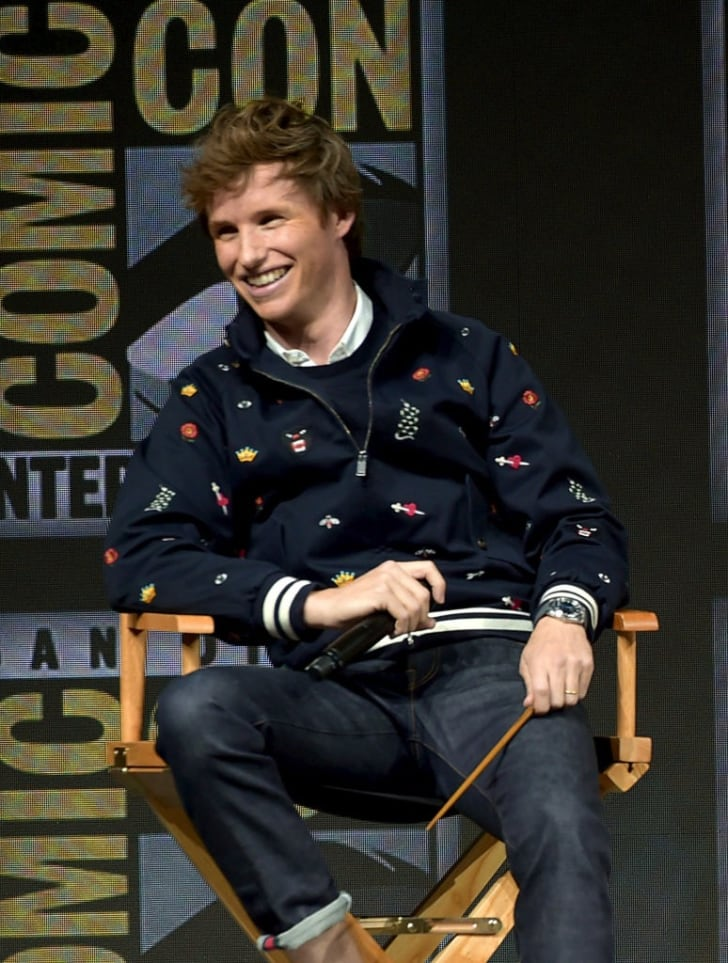 Eddie Redmayne speaks onstage at the Warner Bros. theatrical panel during Comic-Con International 2018 at San Diego Convention Center on July 21, 2018 in San Diego, California