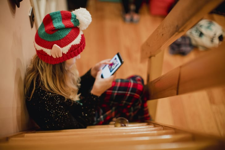 Girl wearing a Christmas winter hat