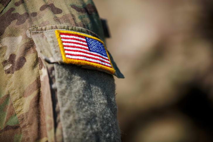 Flag patch sewn onto military uniform.