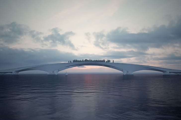 A rendering of a pedestrian bridge