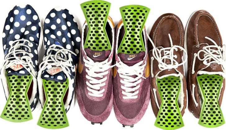 Remodeez Odor Eliminators are tucked inside shoes and sneakers