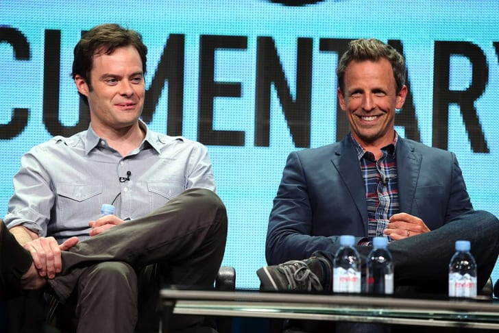Executive producer/actors Bill Hader and Seth Meyers speak onstage during the 'Documentary Now!' panel discussion at the AMC/IFC Networks portion of the 2015 Summer TCA Tour at The Beverly Hilton Hotel