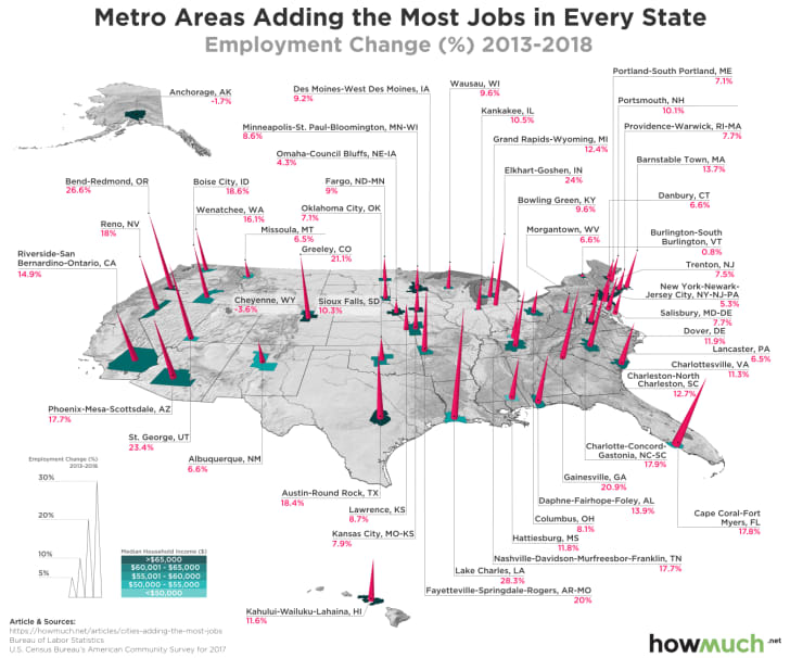 A map of the U.S. showing the top city for job growth in each state